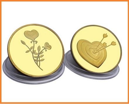San valentino, moneta d'amore e regalo romantico