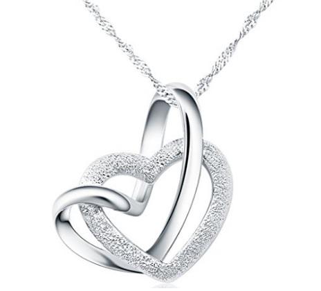 Collana doppio cuore argento