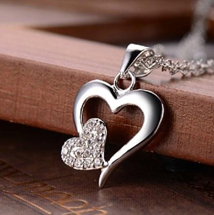 Collana con cuore in argento e platino san valentino