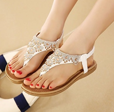 Scarpe basse sandali con strass eleganti