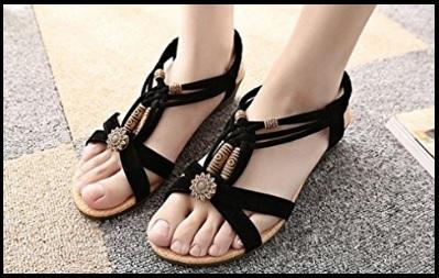 Sandalo gioiello nero basso