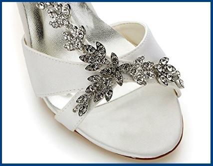 Sandalo gioiello tacco medio bianchi