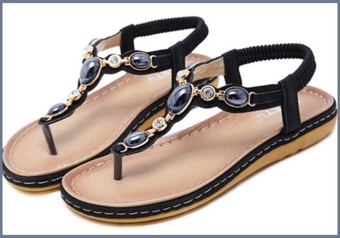 Sandalo con gioielli elastici