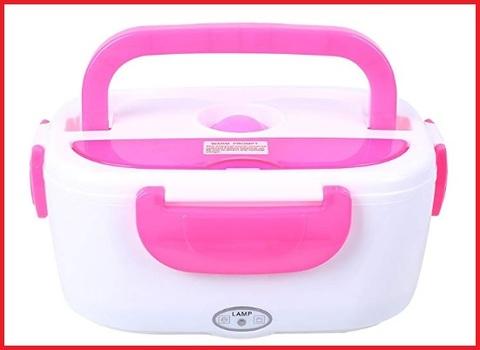 Scaldavivande elettrico rosa con cucchiaio