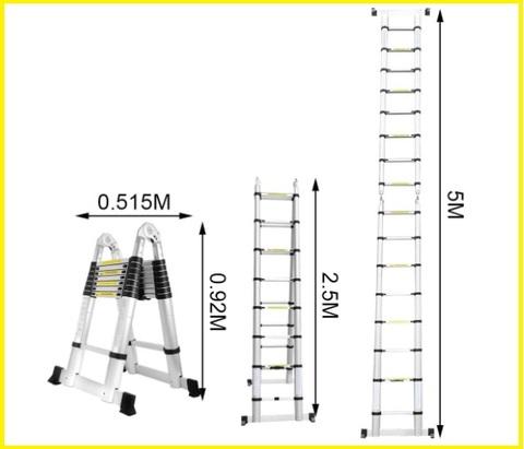 Scala in alluminio telescopica 5 mt