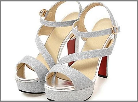 Scarpe Argento Eleganti Con Glitter