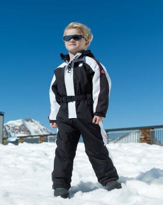 Tuta da sci nero intera per bambini
