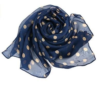 Foulard Elegante A Pois Su Sfondo Blu Marino