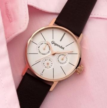 Orologio classico e impermeabile da donna cuoio marrone