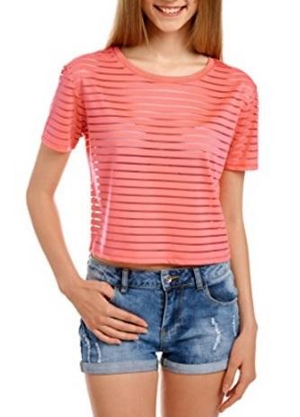 Maglietta Top A Strisce Con Colori Fosforescenti
