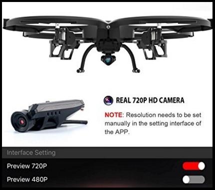 Drone quadricottero wifi videocamera hd headless