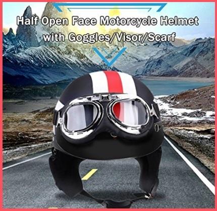 Casco motociclo, con occhialoni protezione