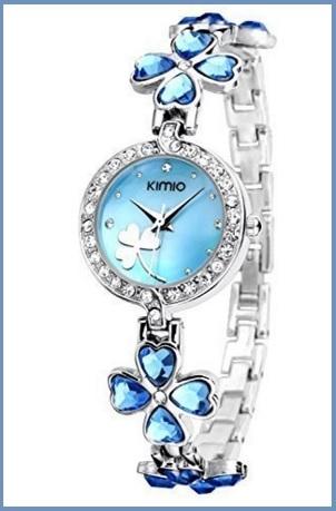 Orologio bracciale da donna con fiori a forma di cuore