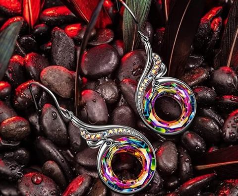 Orecchini in offerta rosa placcati oro con cristallo austria