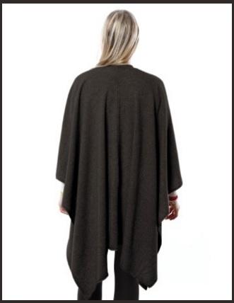 Poncho da donna nero cashmere morbido