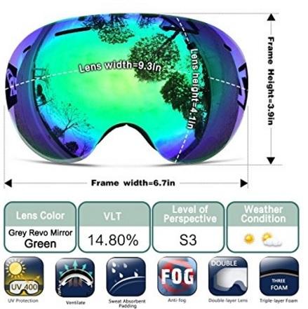Occhiali specchio per snowboard con protezione sferica