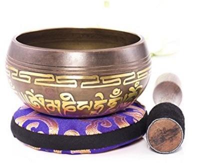 Campana tibetana con cuscino himalayano e percussore