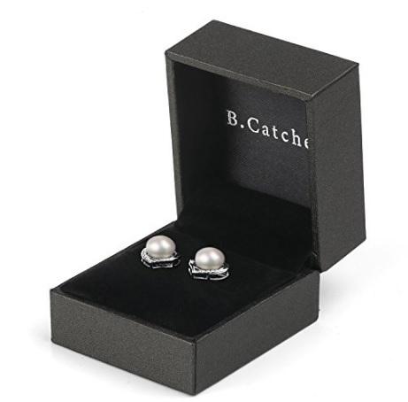 Orecchini perla e cuore con brillanti in argento