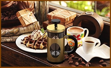 Caffettiera design in acciaio inox e vetro