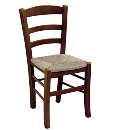 Sedia in legno massello noce in paglia classica