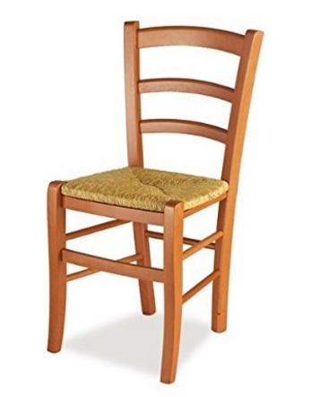 Sedia in legno di ciliegio e impagliata vera