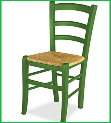 Sedia impagliata legno verde