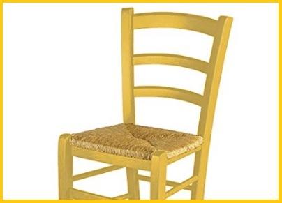 Sedia impagliata legno giallo
