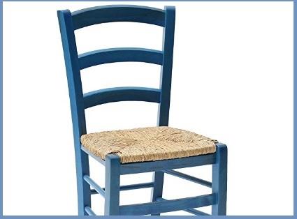 Sedia impagliata legno blu