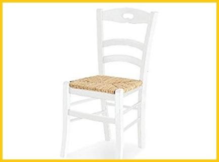 Sedie impagliate cucina bianca
