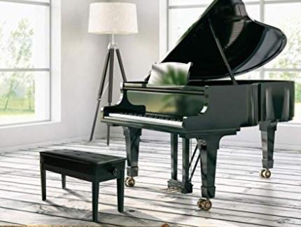 Sgabello pianoforte regolabile nero