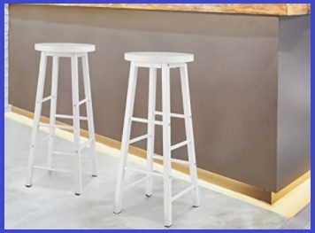 Sgabello alto legno bianco