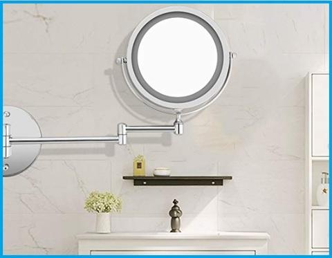 Specchio ingranditore con luce da parete bagno