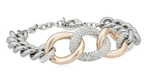 Bracciale in acciaio oro e acciaio catena swarovski