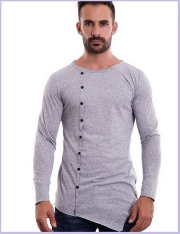 T shirt uomo asimmetrica e aderente