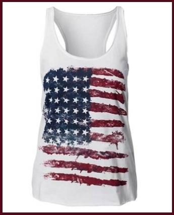 Canottiera bianca con la bandiera americana