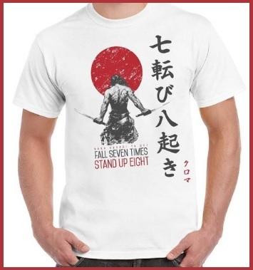 Maglietta giapponese e guerriero 100% cotone