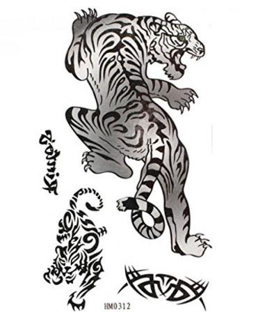 Tatuaggio a forma di tigre bianco e nero