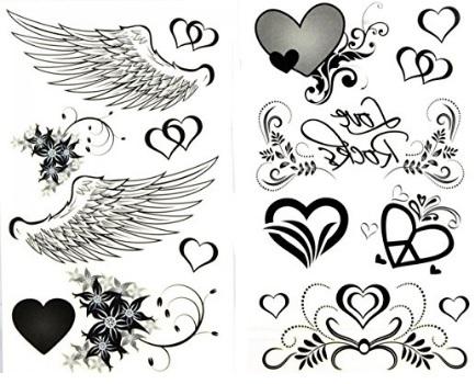 Tatuaggi temporanei ali e cuori