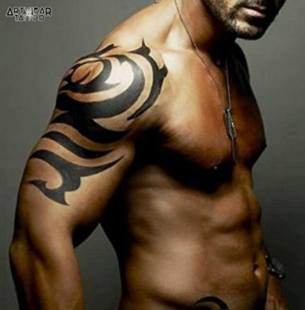 Tatuaggio temporaneo e realistico tribale grande