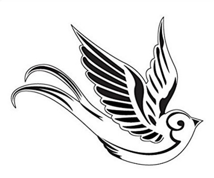 Rondine tattoo bianco e nero temporaneo