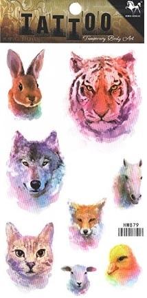Tattoo animali colorati e fantastici