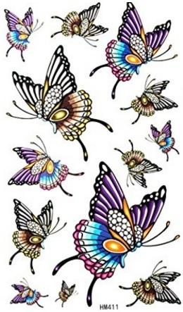 Tatuaggi farfalle colorate impermeabile