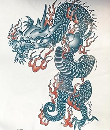 Drago colorato adesivo tattoo
