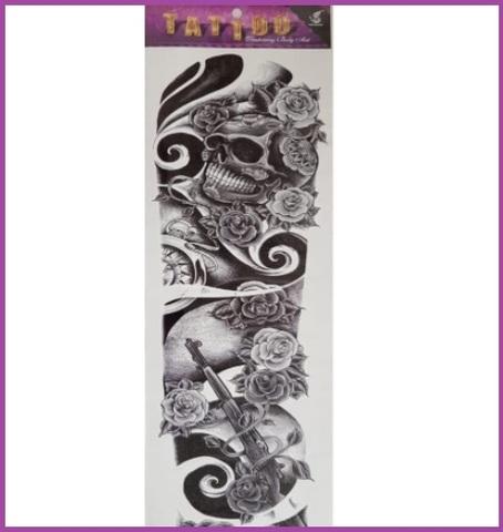 tatuaggio temporaneo teschio e rose grandi sconti tatuaggi tattoo temporanei. Black Bedroom Furniture Sets. Home Design Ideas
