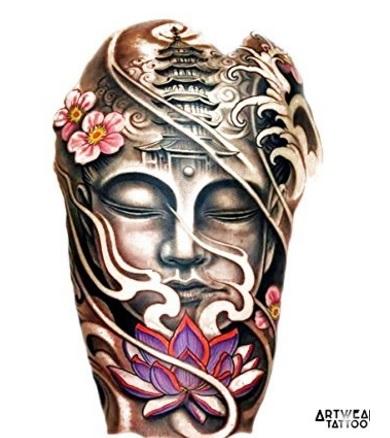 Tatuaggi buddha grande e realistico