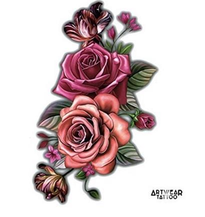 Tatuaggio realistico rose e fiori