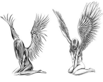 Tatuaggio angelo temporaneo bianco e nero