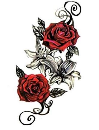 Tatuaggio temporaneo con rose realistiche