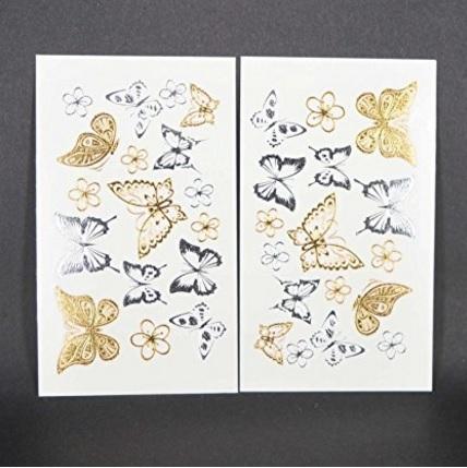 Farfalla tattoo temporaneo piccoli argento e oro