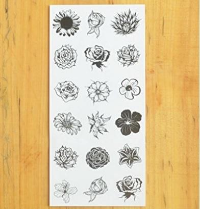 Fiori tattoo temporanei bianco e nero